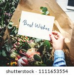 best wishes card with a flower... | Shutterstock . vector #1111653554