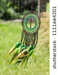 dream catcher with feathers... | Shutterstock . vector #1111664201