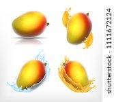 set of mago. mango with water... | Shutterstock .eps vector #1111672124