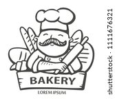 bakery logo. hand drawn vector... | Shutterstock .eps vector #1111676321