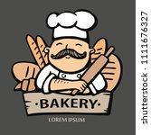bakery logo. hand drawn vector... | Shutterstock .eps vector #1111676327