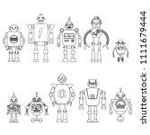 set of different cartoon robots ...   Shutterstock .eps vector #1111679444