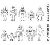 set of different cartoon robots ...   Shutterstock .eps vector #1111680467