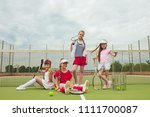 portrait of group of girls as... | Shutterstock . vector #1111700087