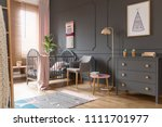 grey cabinet next to pink lamp... | Shutterstock . vector #1111701977