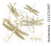 Stock vector vector illustration dragonflies on splash background gold color effect 1111711907