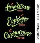 ameericano coffee  espresso...   Shutterstock .eps vector #1111714304