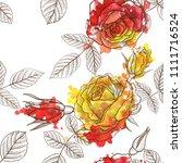 vintage vector floral seamless... | Shutterstock .eps vector #1111716524