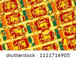 flags  of sri lanka  behind a... | Shutterstock . vector #1111716905