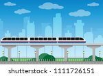 subway train metro on bridge... | Shutterstock .eps vector #1111726151
