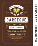 barbecue party vector flyer or... | Shutterstock .eps vector #1111726859