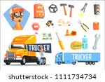 long distance truck driver and... | Shutterstock .eps vector #1111734734