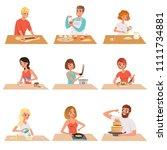 young man and woman cooking set ... | Shutterstock .eps vector #1111734881