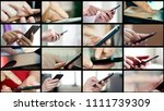 collage of different people... | Shutterstock . vector #1111739309