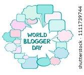 world blogger day. june 14 .... | Shutterstock .eps vector #1111739744