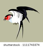 portrait of a flying swallow | Shutterstock .eps vector #1111743374