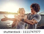 young fitness couple doing... | Shutterstock . vector #1111747577