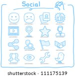pure series   hand drawn social ... | Shutterstock .eps vector #111175139