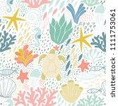 sea life blue pattern | Shutterstock .eps vector #1111753061
