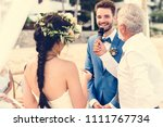 young couple in a wedding...   Shutterstock . vector #1111767734