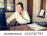 female resort receptionist... | Shutterstock . vector #1111767797