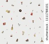 musical instruments doodle hand ... | Shutterstock .eps vector #1111788101