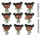 set of little funny girl in...   Shutterstock .eps vector #1111796831