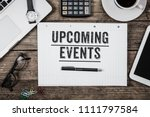 text upcoming events written in ... | Shutterstock . vector #1111797584