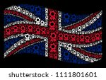 waving uk flag on a black... | Shutterstock .eps vector #1111801601