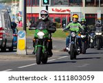 Small photo of Hastings,East Sussex/UK 07/05/18 Bike 1066 the annual May Day bike run to Hastings. A Kawasaki motorbikes and others arrive on the seafront to join thousands of other motorcycles