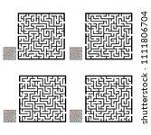 set of labyrinths  mazes...   Shutterstock .eps vector #1111806704
