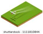 isometric crop duster applies... | Shutterstock .eps vector #1111810844