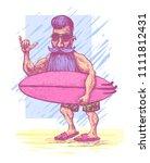 surfer with a beard  a mustache ... | Shutterstock .eps vector #1111812431