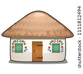 the hut with a thatched roof... | Shutterstock .eps vector #1111812494
