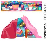 children's tent made of wooden... | Shutterstock .eps vector #1111830941
