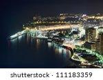 Monaco, Monte Carlo port by night, aerial view - stock photo