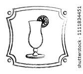 grunge emblem with cocktail... | Shutterstock .eps vector #1111834451