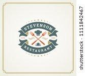 restaurant logo design vector... | Shutterstock .eps vector #1111842467