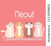 cute cat vector illustration... | Shutterstock .eps vector #1111858601