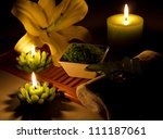 spa still life with candles ... | Shutterstock . vector #111187061