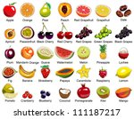 collection of 35 fruits icons | Shutterstock .eps vector #111187217