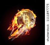 bitcoin on fire. flaming btc... | Shutterstock . vector #1111897775