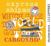 cute sea dog captain cargo boat ... | Shutterstock .eps vector #1111899881