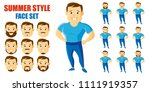 summer style man face set... | Shutterstock .eps vector #1111919357