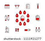 blood donation vector icon set... | Shutterstock .eps vector #1111921277