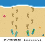 honeymoon at the sea. top view... | Shutterstock .eps vector #1111921721