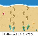 honeymoon at the sea. top view... | Shutterstock .eps vector #1111921721