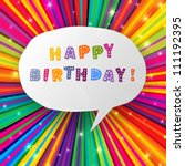 happy birthday card on colorful ... | Shutterstock .eps vector #111192395