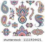paisley set. oriental...   Shutterstock .eps vector #1111924421