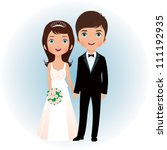 bride and groom holding hands... | Shutterstock .eps vector #111192935
